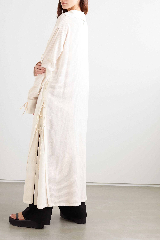 Ann Demeulemeester Lace-up striped gauze dress