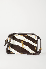 Lou studded zebra-print calf hair and leather shoulder bag