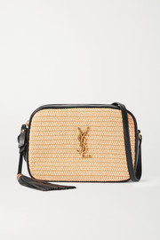 SAINT LAURENT Lou leather and raffia shoulder bag