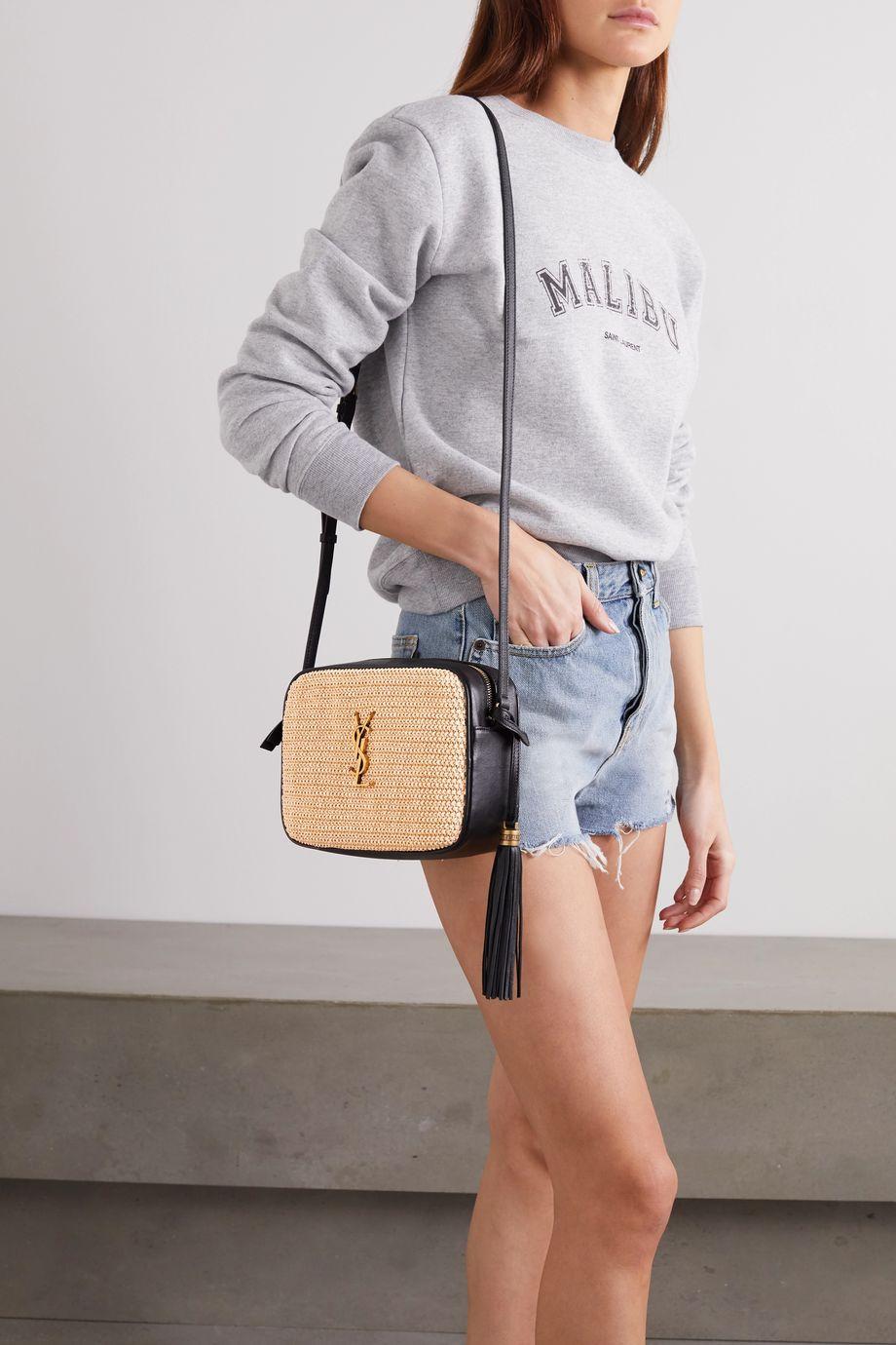 SAINT LAURENT Lou leather and raffia shoulder bag