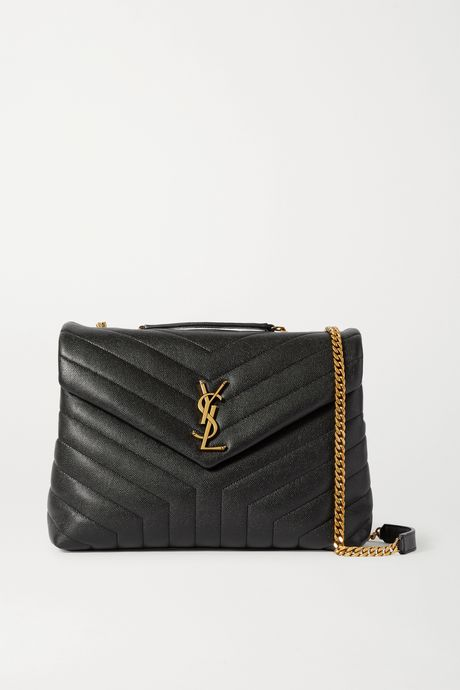 Black Loulou medium quilted textured-leather shoulder bag | SAINT LAURENT gTQG3f