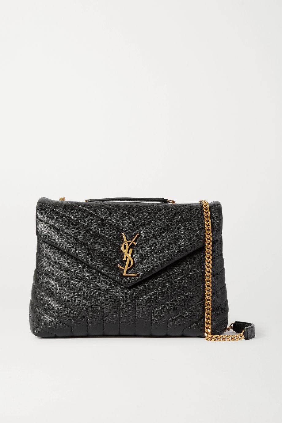 SAINT LAURENT Loulou medium quilted textured-leather shoulder bag