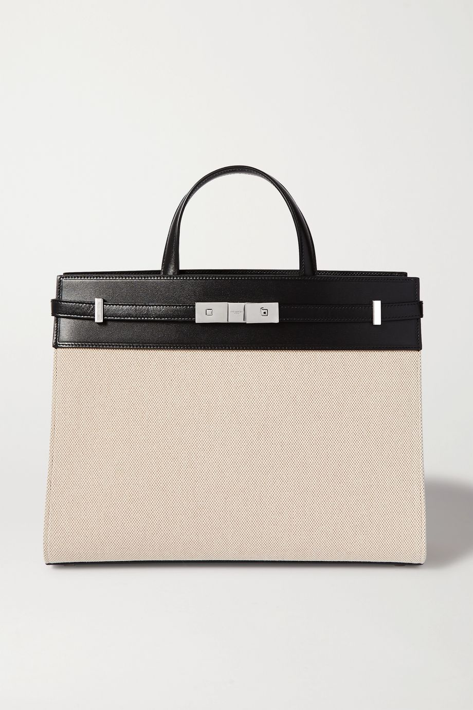 SAINT LAURENT Manhattan small leather-trimmed canvas tote