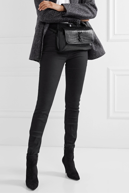 SAINT LAURENT Niki medium glossed croc-effect leather belt bag