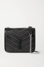 Niki mini studded quilted textured-leather shoulder bag