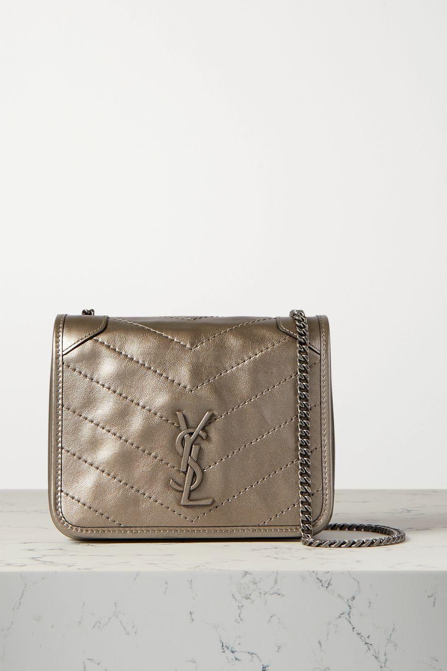 SAINT LAURENT Niki mini quilted metallic leather shoulder bag