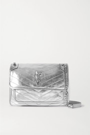 SAINT LAURENT Niki medium quilted metallic leather shoulder bag