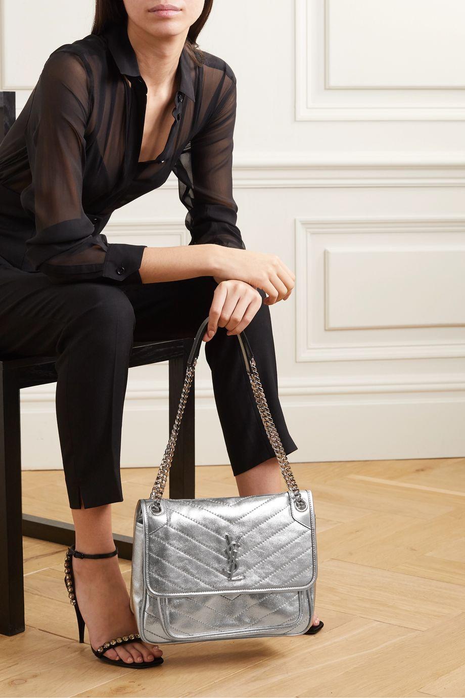 SAINT LAURENT Niki medium quilted metallic leather shoulder bag