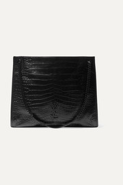 SAINT LAURENT Niki large croc-effect leather tote
