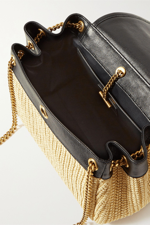 SAINT LAURENT Nolita small leather-trimmed raffia shoulder bag
