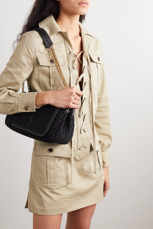 SAINT LAURENT Nolita small raffia and leather shoulder bag