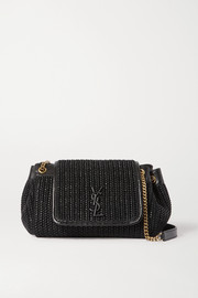 SAINT LAURENT Nolita small raffia and leather shoulder bag