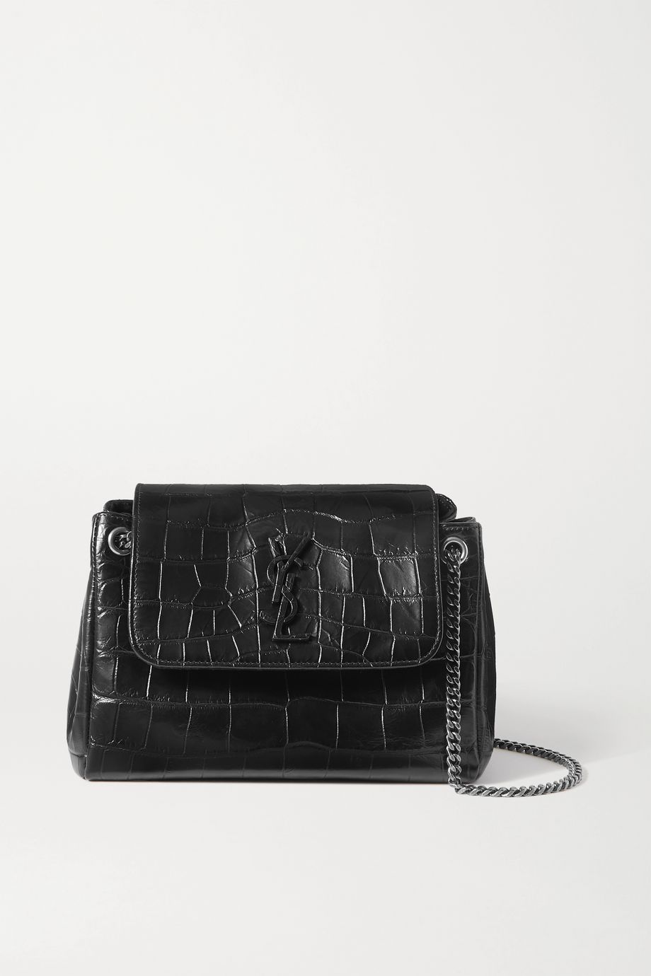 SAINT LAURENT Nolita small croc-effect leather shoulder bag