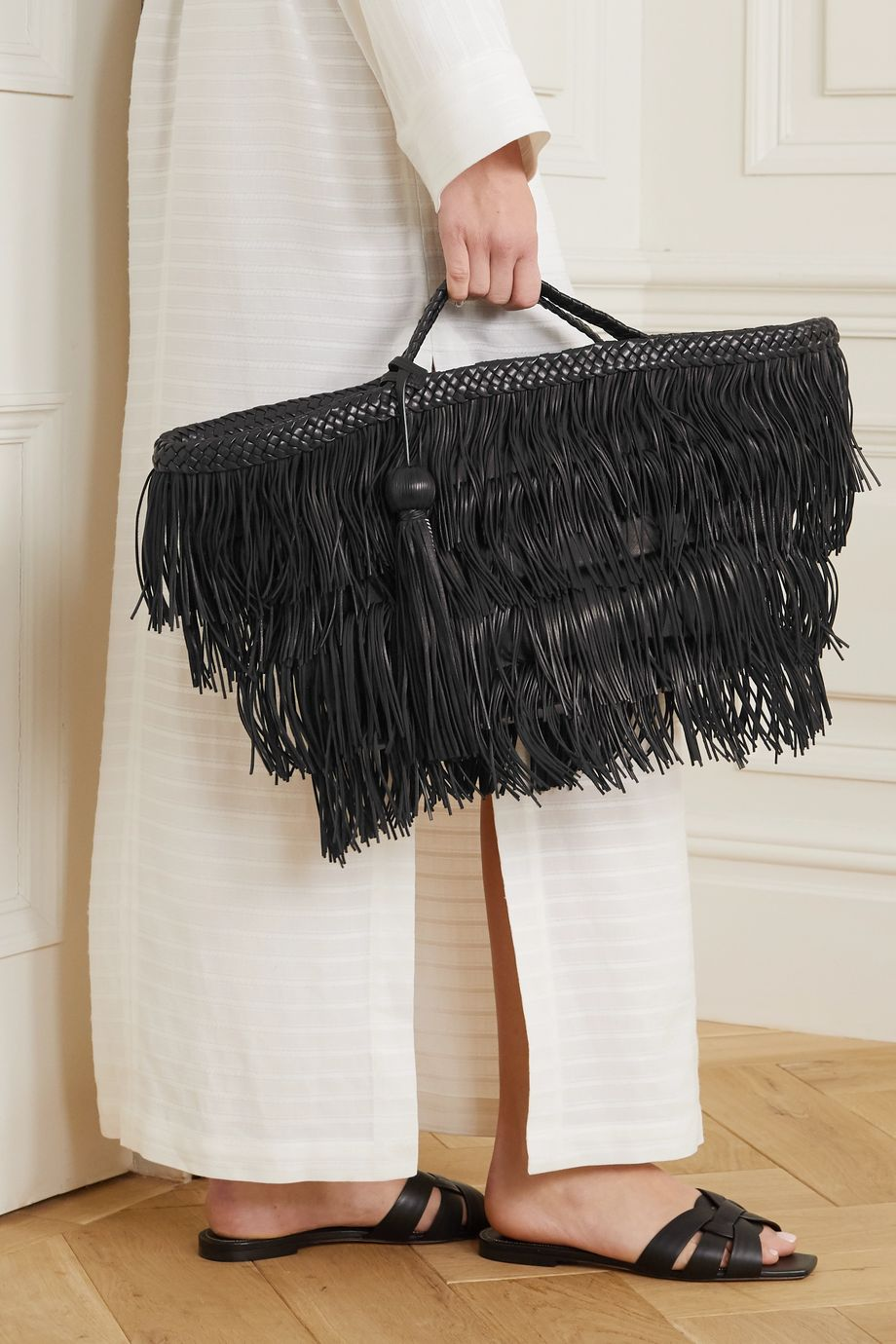 SAINT LAURENT Panier fringed leather tote