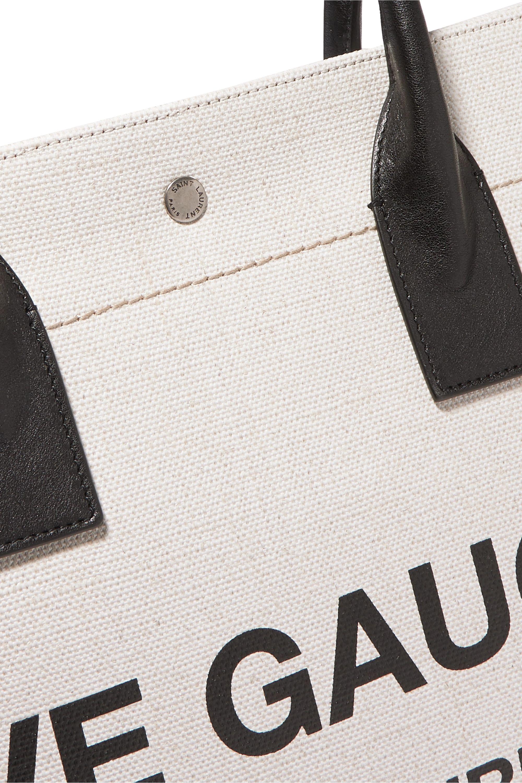 SAINT LAURENT Shopper leather-trimmed printed canvas tote