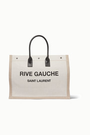 SAINT LAURENT Shopper leather-trimmed printed canvas tote