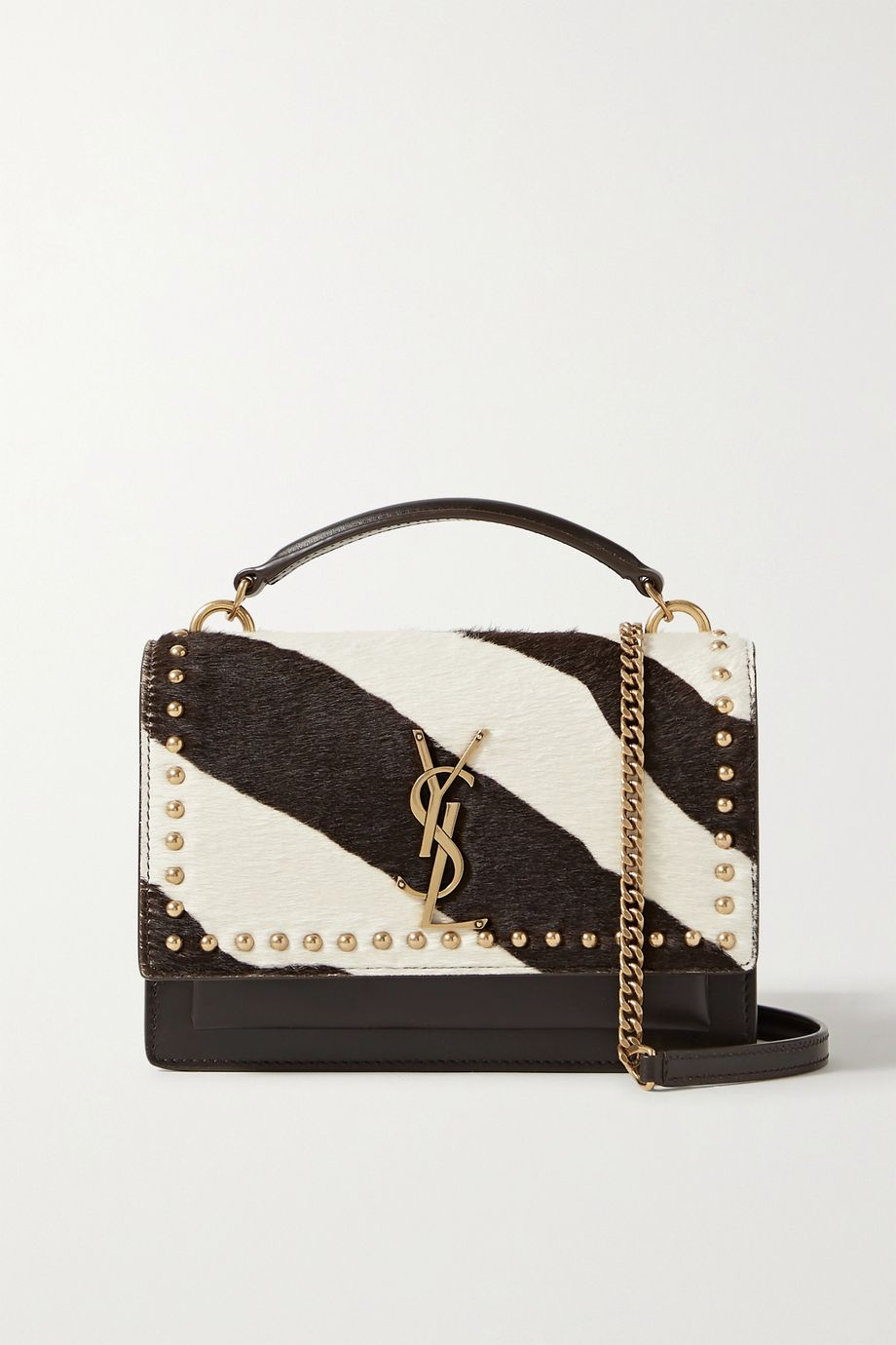 SAINT LAURENT Sunset small studded leather and zebra-print calf hair shoulder bag