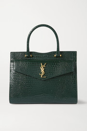 SAINT LAURENT Uptown medium croc-effect leather tote