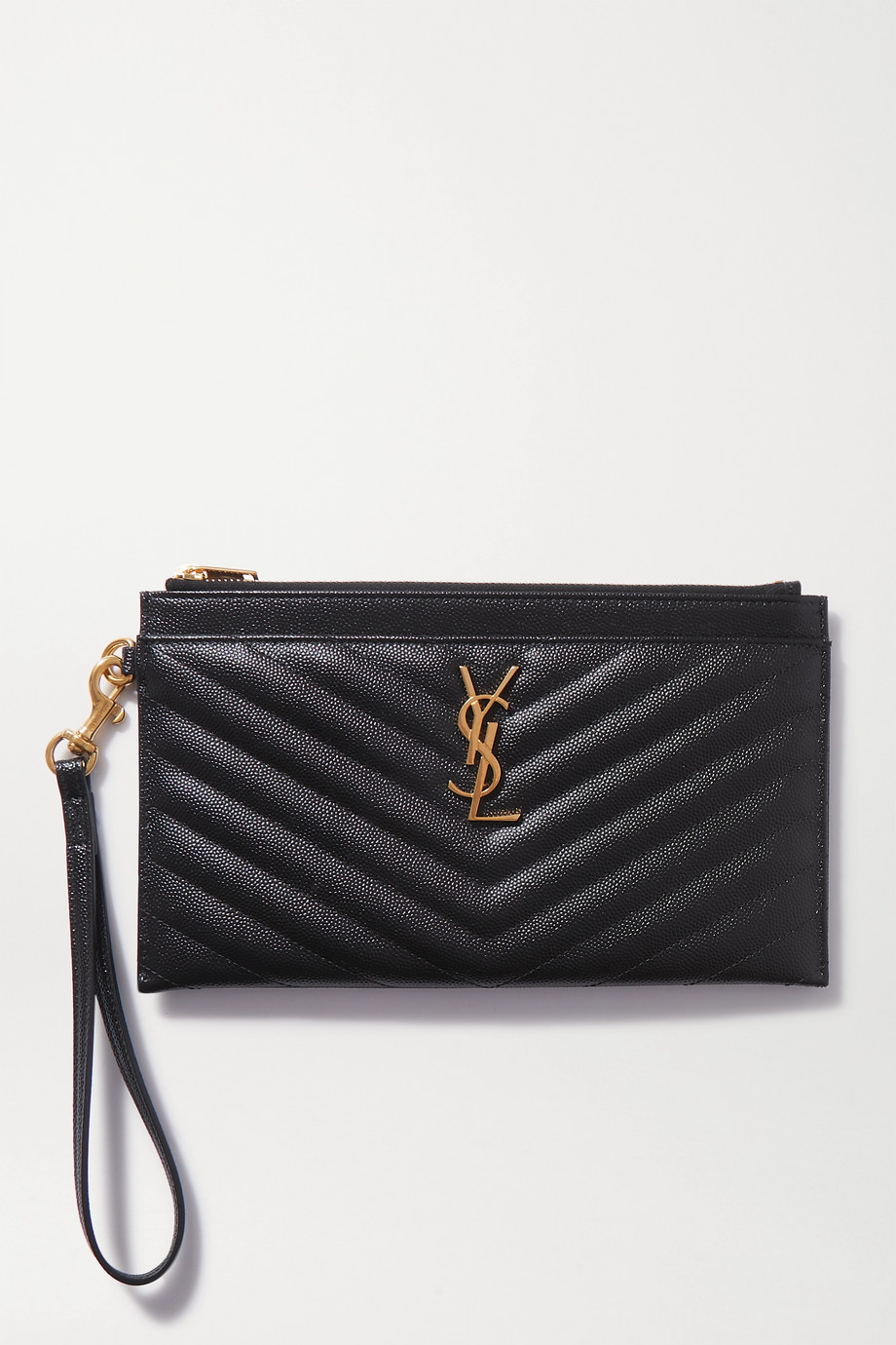 SAINT LAURENT Monogramme large quilted textured-leather pouch