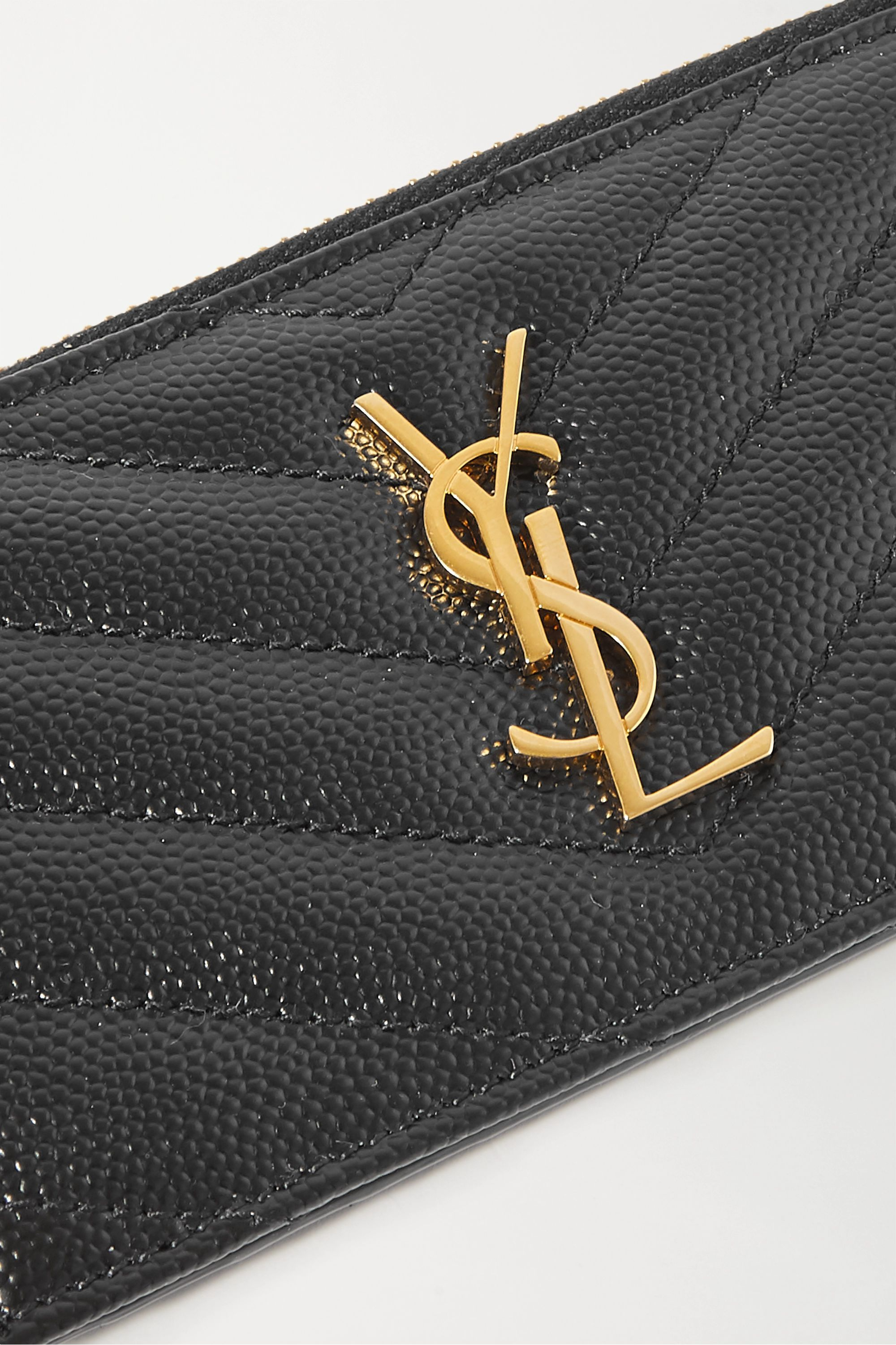 SAINT LAURENT Monogramme small quilted textured-leather wallet