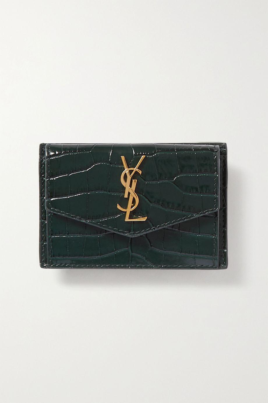 SAINT LAURENT Uptown croc-effect leather cardholder