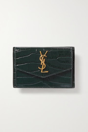Uptown croc-effect leather cardholder
