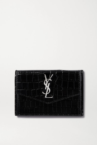 Uptown Croc Effect Leather Cardholder by Saint Laurent