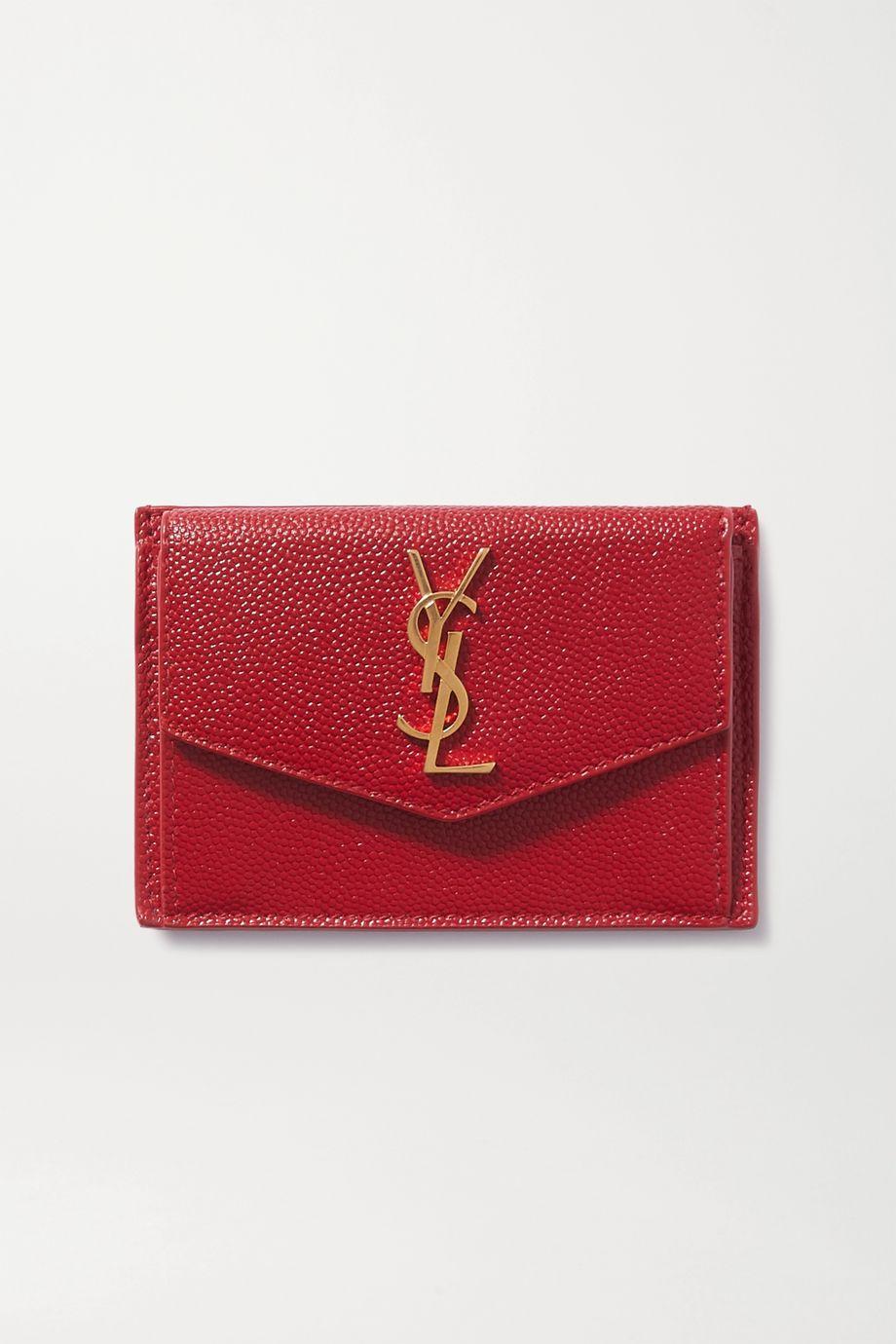 SAINT LAURENT Uptown textured-leather cardholder