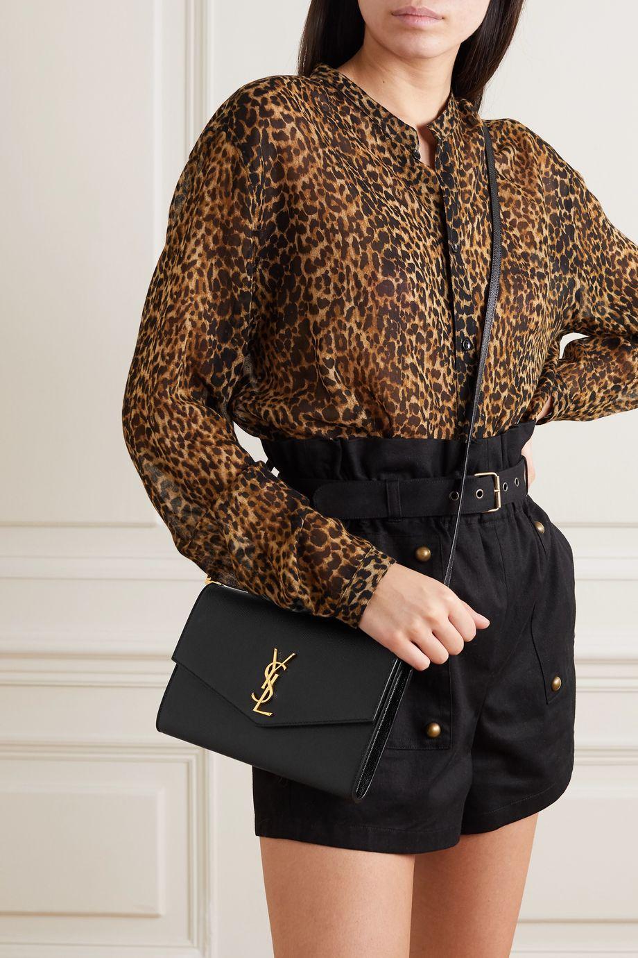 SAINT LAURENT Uptown mini textured-leather shoulder bag