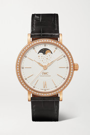 Portofino Automatic Moon Phase 37mm 18-karat gold, alligator and diamond watch