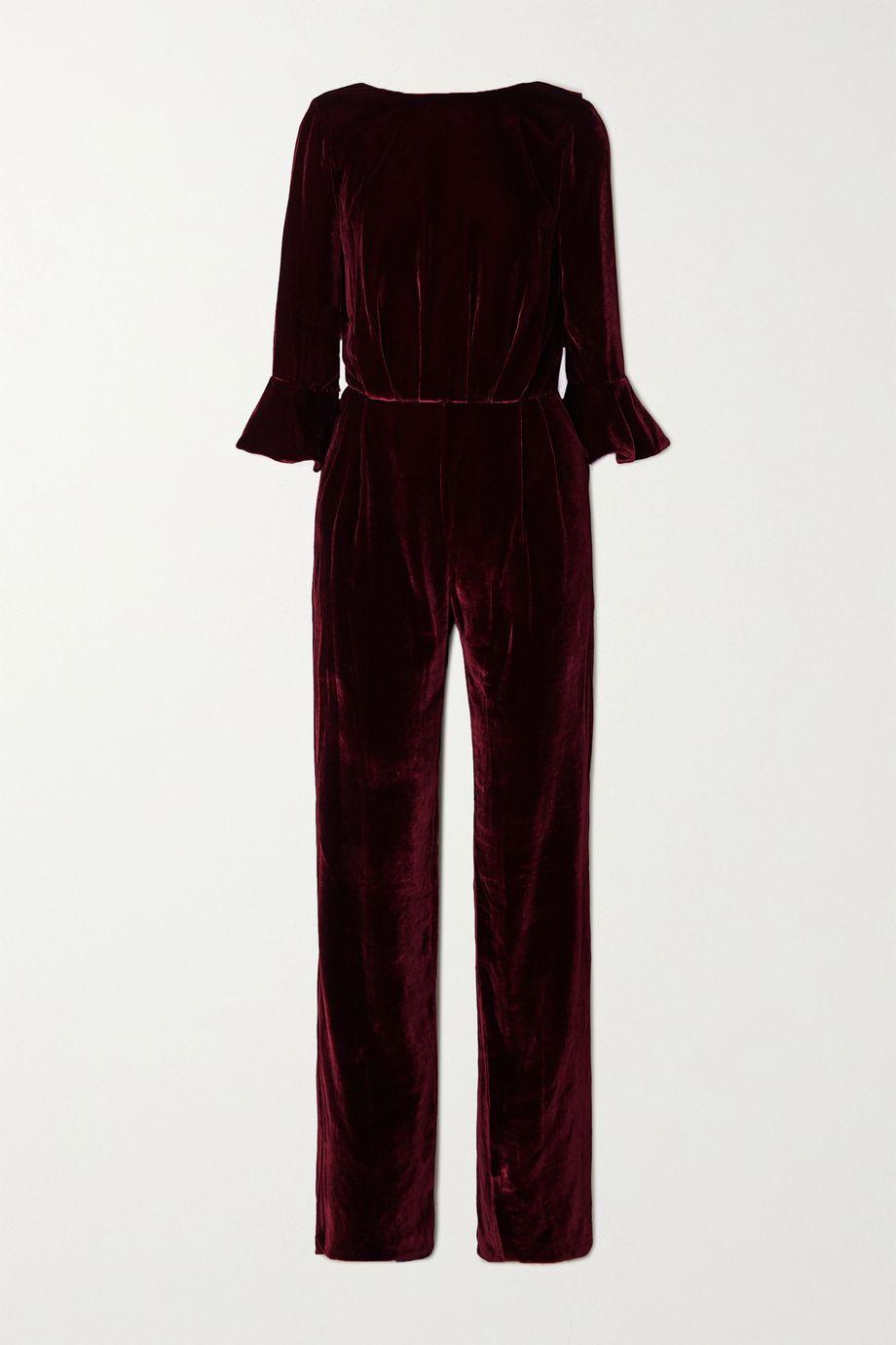 Seren Gee tie-detailed open-back velvet jumpsuit