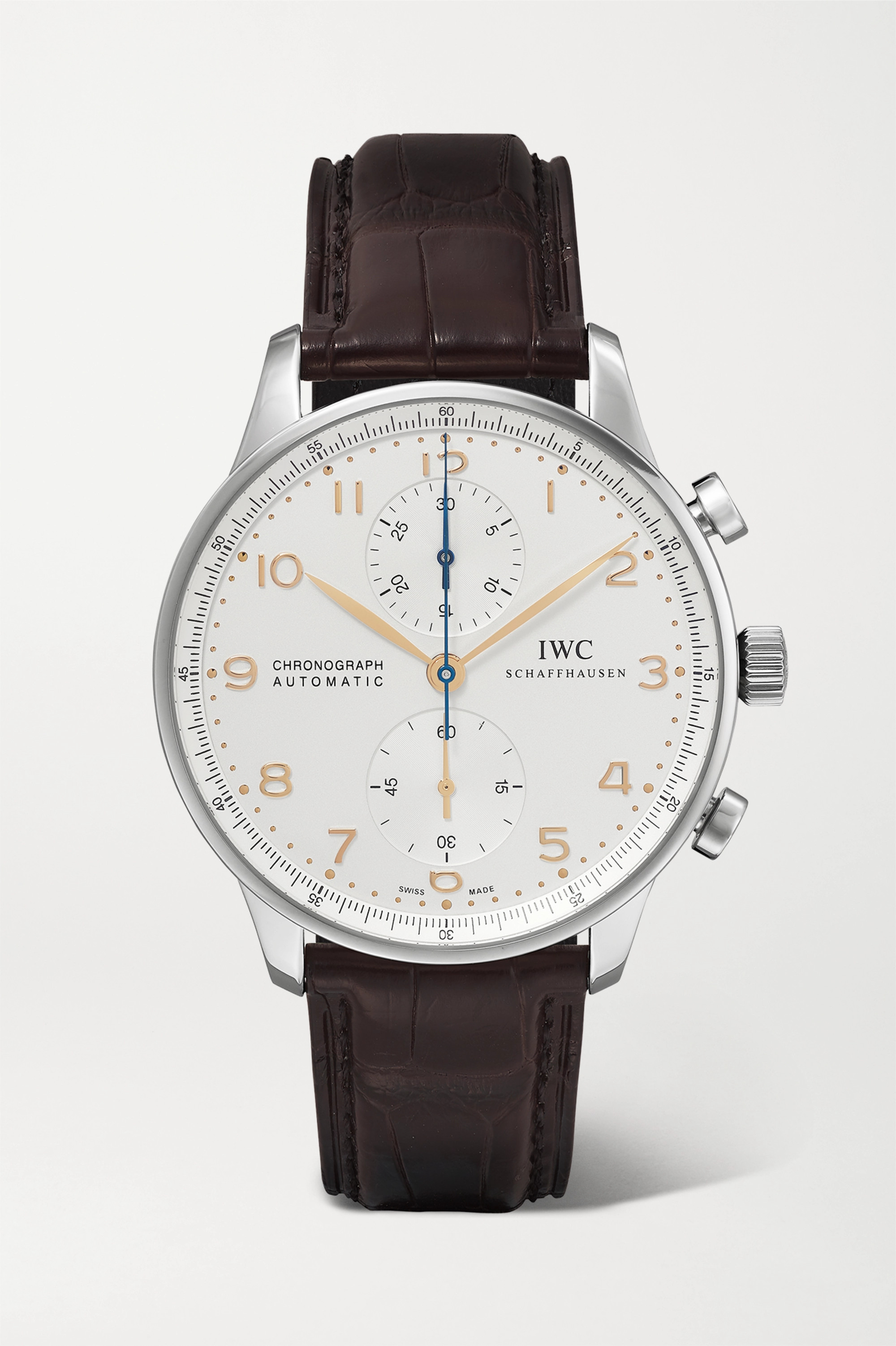 IWC SCHAFFHAUSEN Montre en acier inoxydable à bracelet en alligator Portugieser Chronograph Automatic 40,9 mm