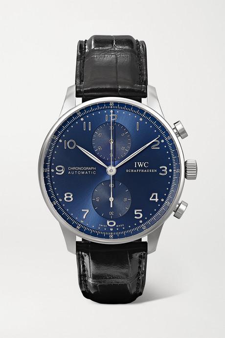 Black Portugieser Chronograph automatic 41mm stainless steel and alligator watch   IWC SCHAFFHAUSEN BrIfEq