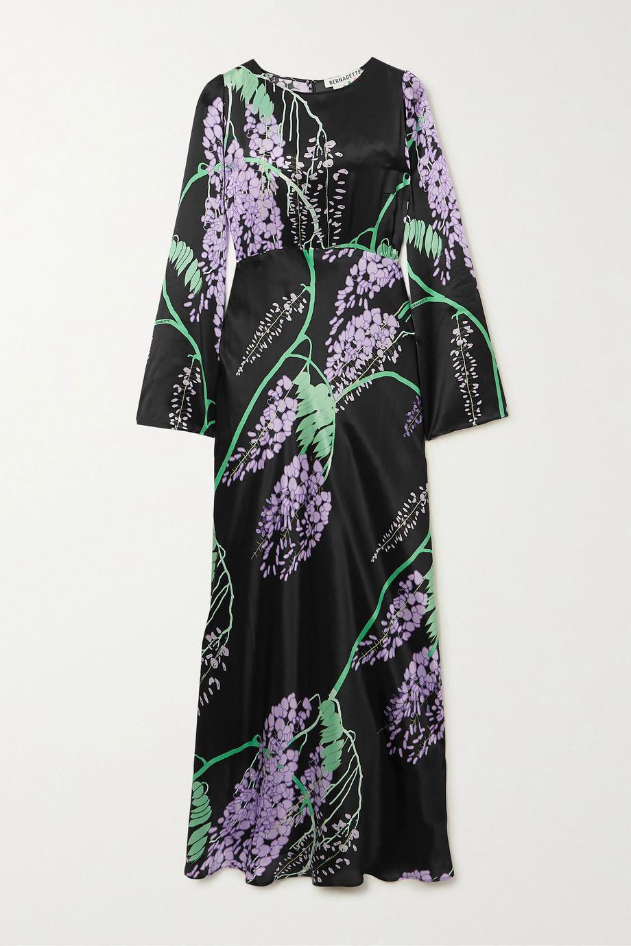 BERNADETTE Jane printed silk-satin maxi dress
