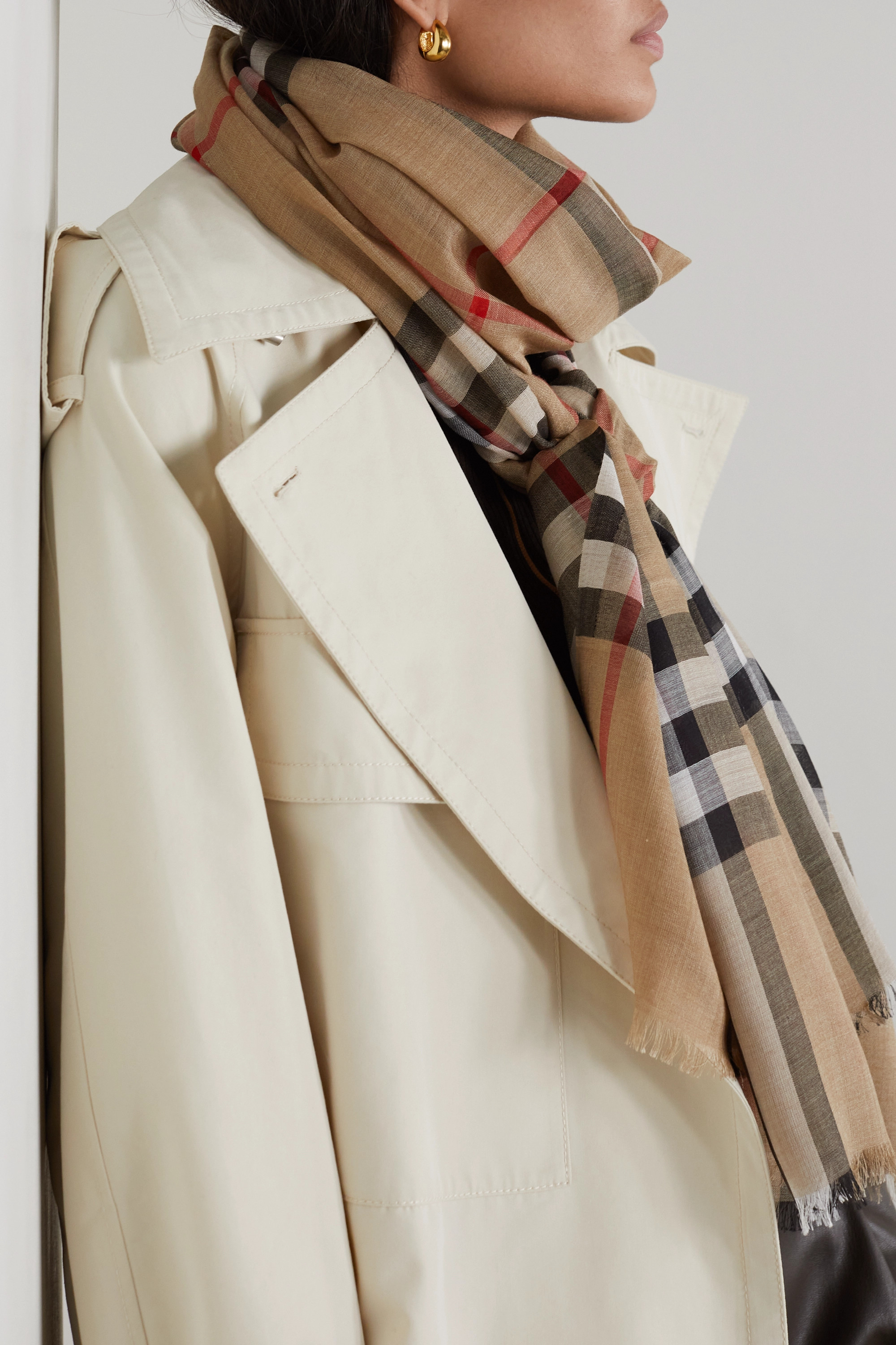 Burberry Frayed checked wool and silk-blend scarf