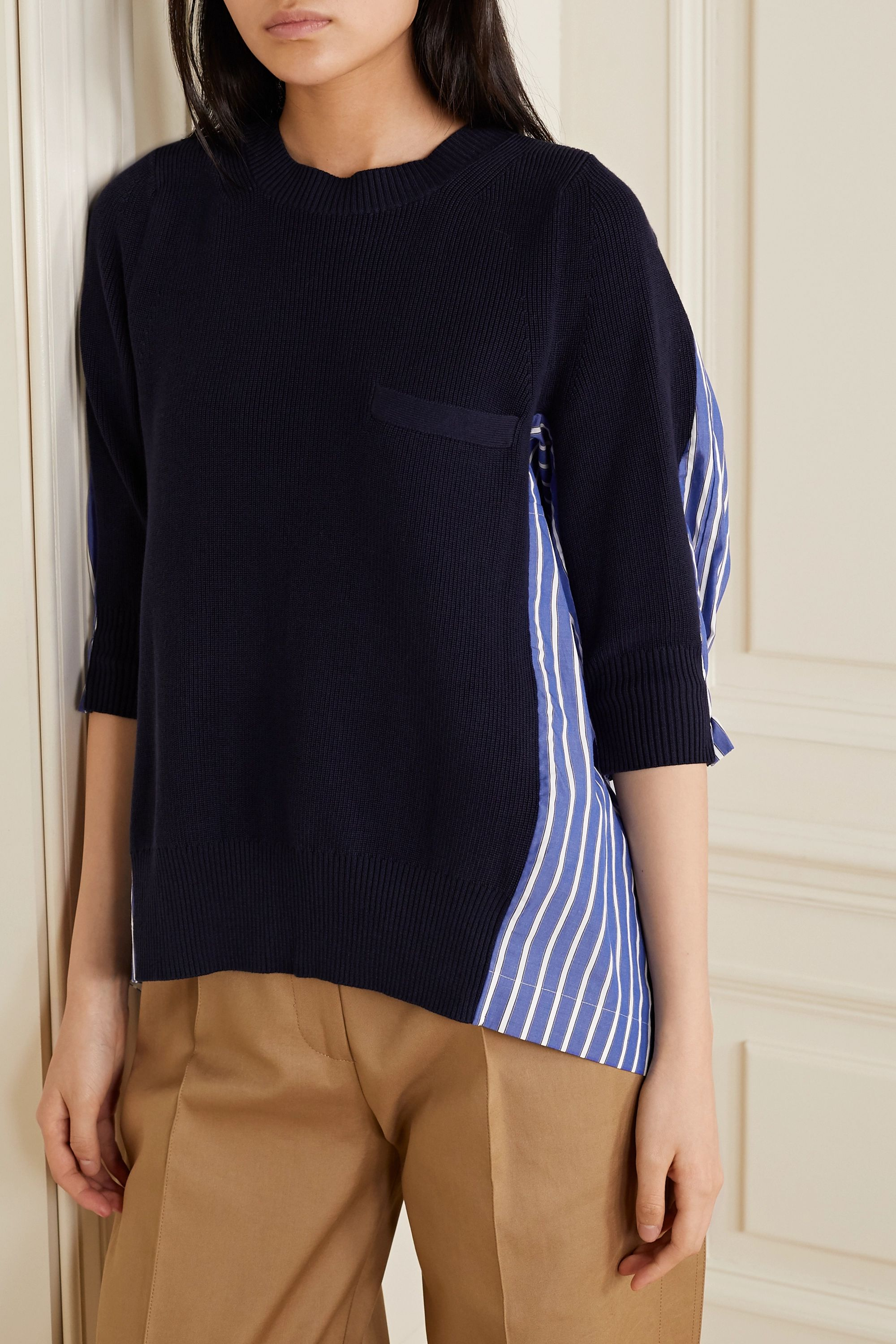 Sacai Oversized paneled striped cotton-poplin and ribbed-knit top