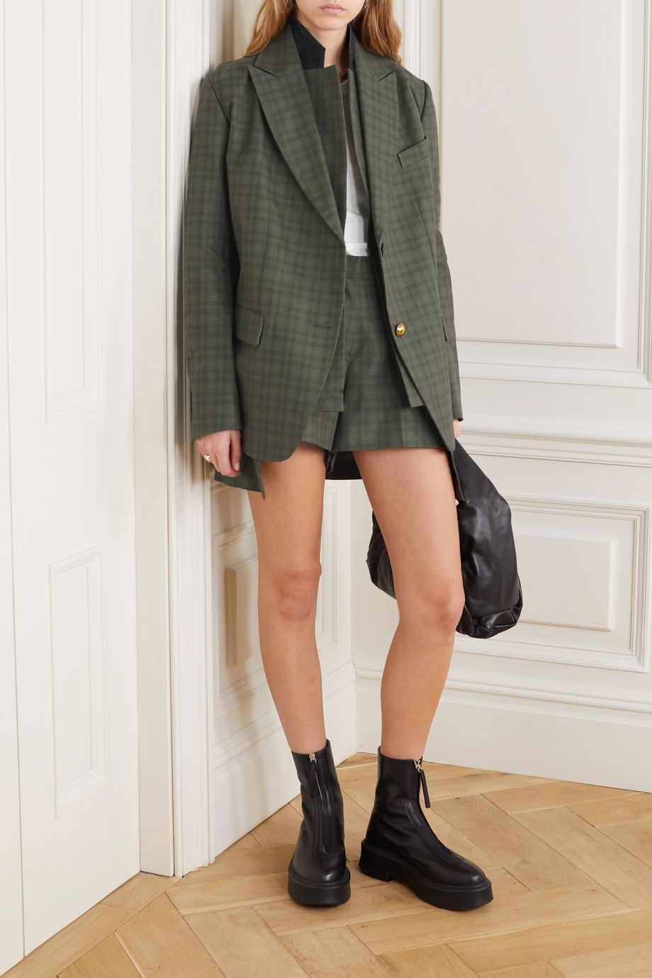 Sacai Layered checked wool-blend and cotton blazer