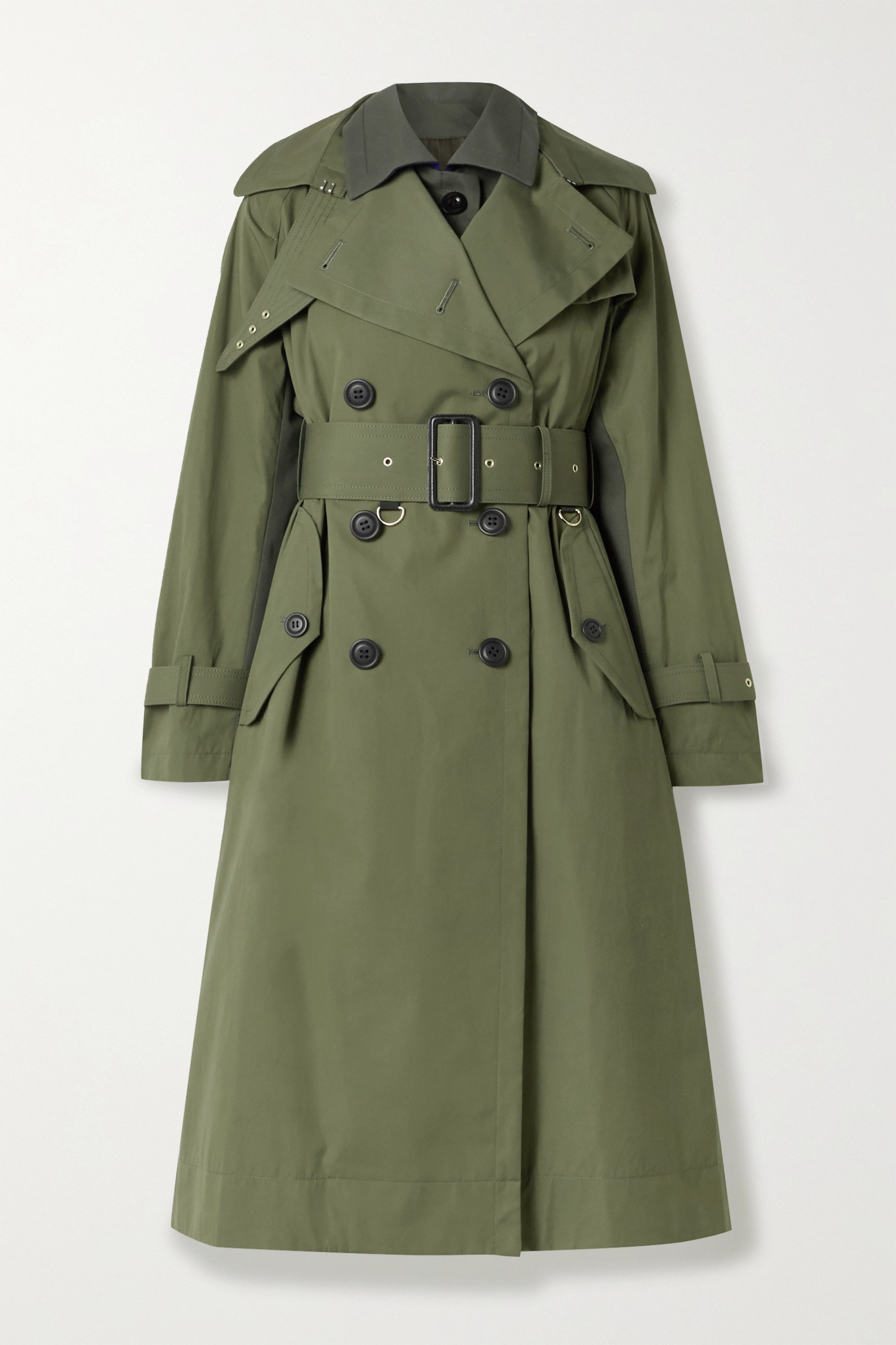 Sacai Paneled cotton-gabardine and wool-blend trench coat