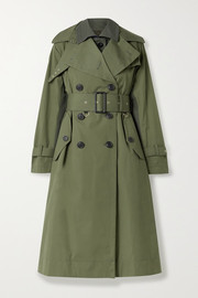 Paneled cotton-gabardine and wool-blend trench coat