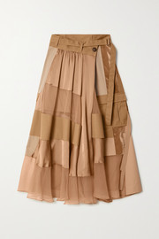 Paneled asymmetric satin, velvet, twill and chiffon wrap maxi skirt