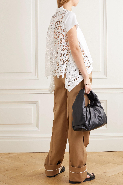 Sacai Asymmetric cotton-jersey and lace T-shirt