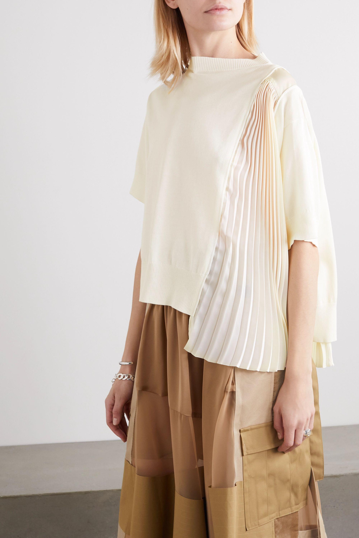 Sacai Asymmetric paneled plissé-chiffon and cotton top