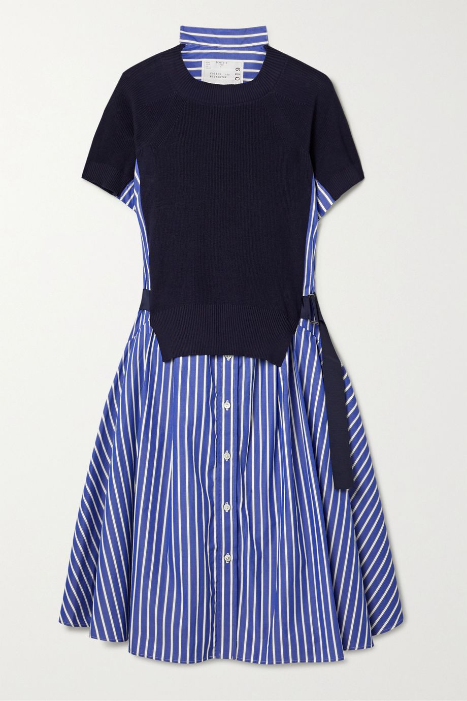 Sacai Buckled paneled striped cotton-poplin and ribbed-knit dress