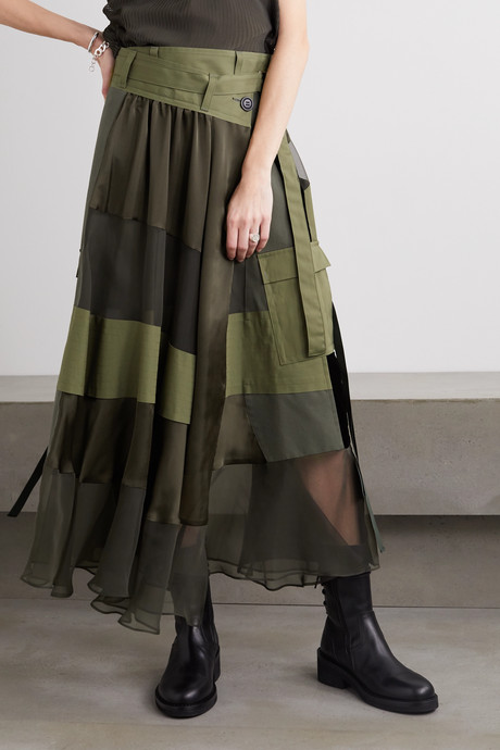 Paneled asymmetric satin, velvet, twill and chiffon wrap maxi skirt