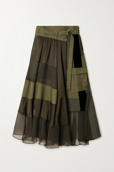 Sacai - Paneled Asymmetric Satin, Velvet, Twill And Chiffon Wrap Maxi Skirt - Dark green