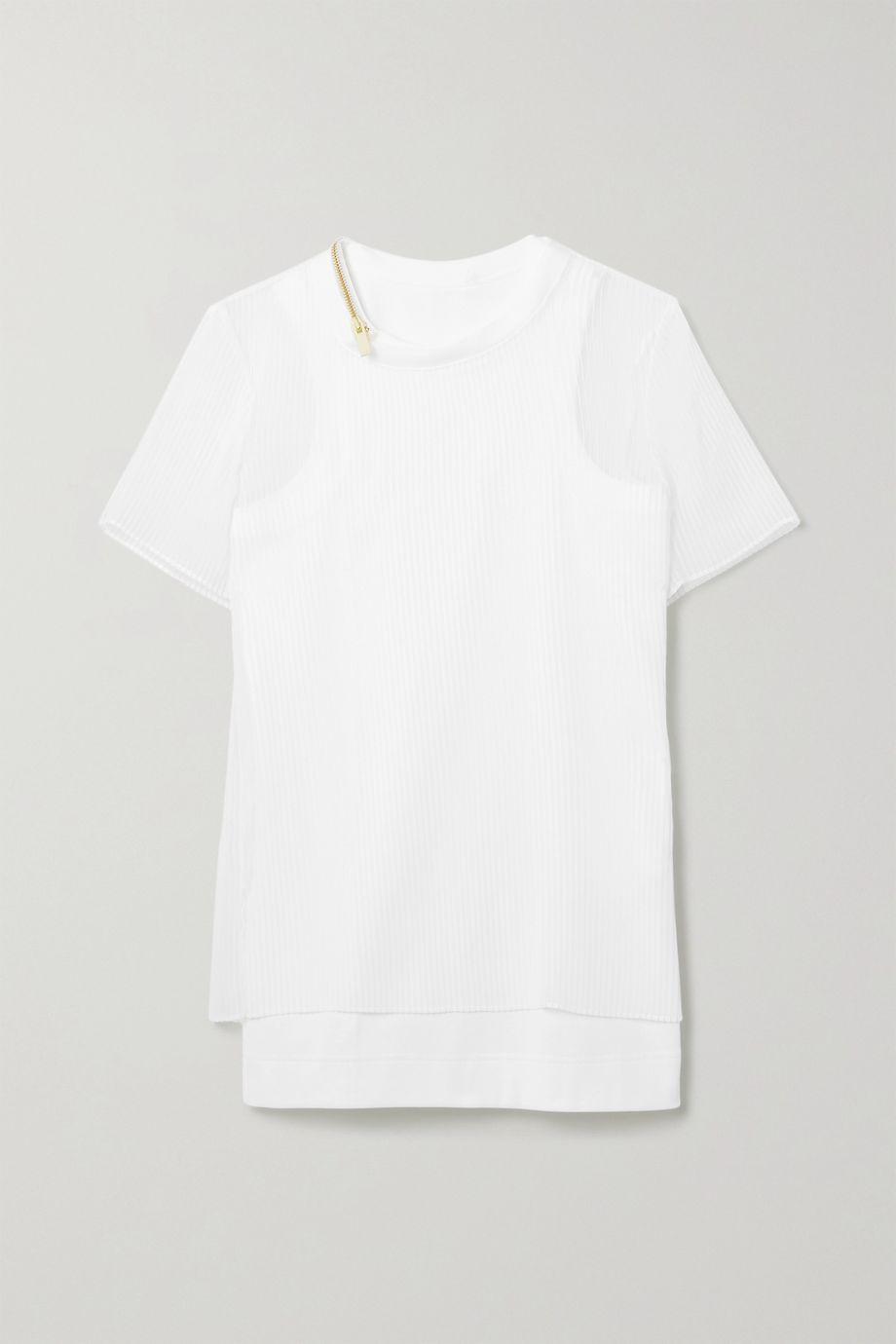 Sacai Layered plissé-chiffon and ribbed cotton-blend jersey top