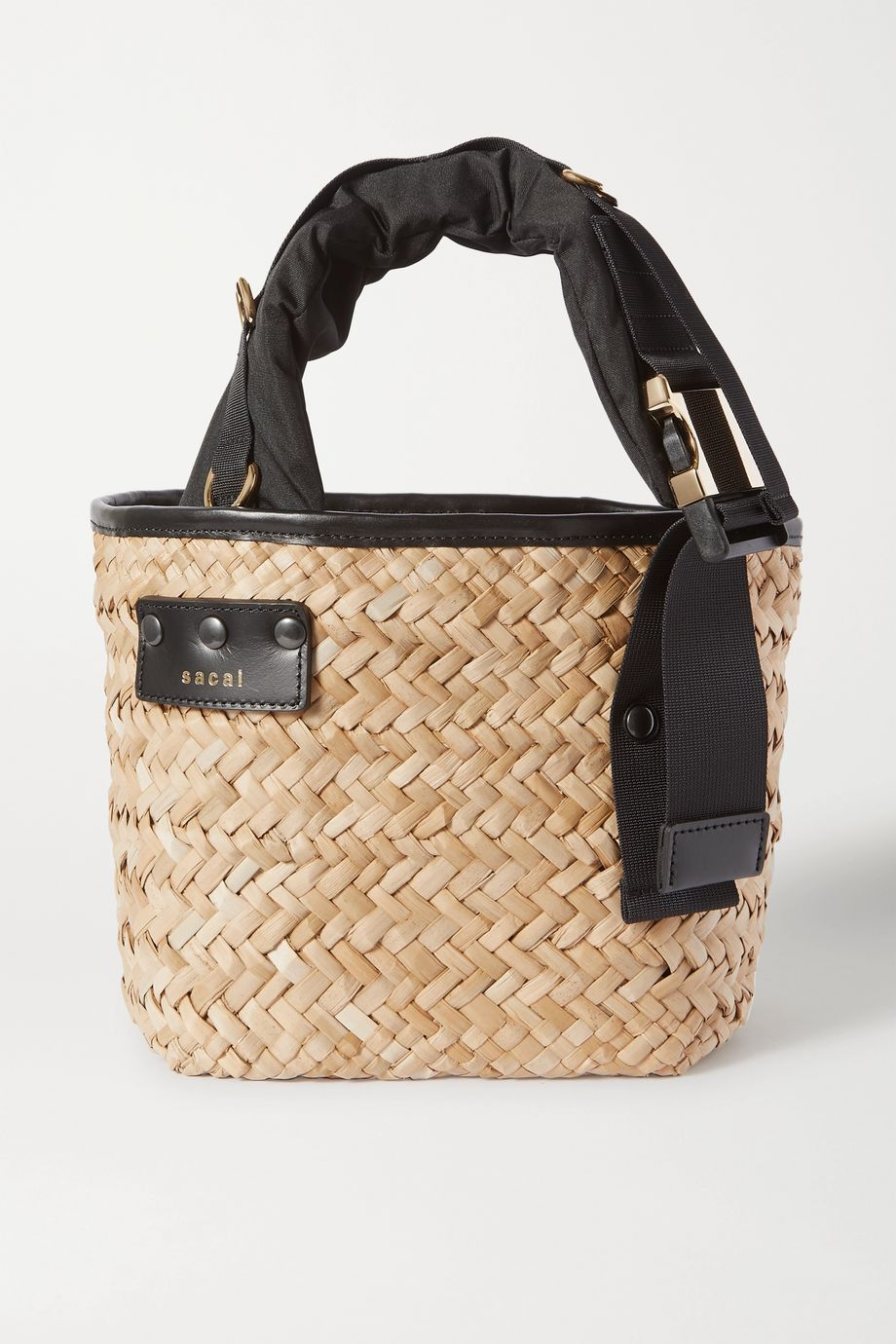 Sacai Shell and leather-trimmed woven straw tote