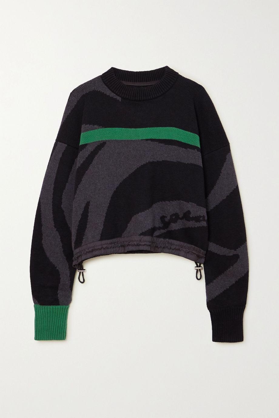 Sacai Cropped striped intarsia cotton sweater