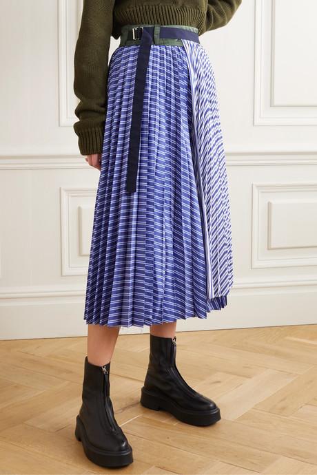 Pleated striped cotton-poplin wrap midi skirt