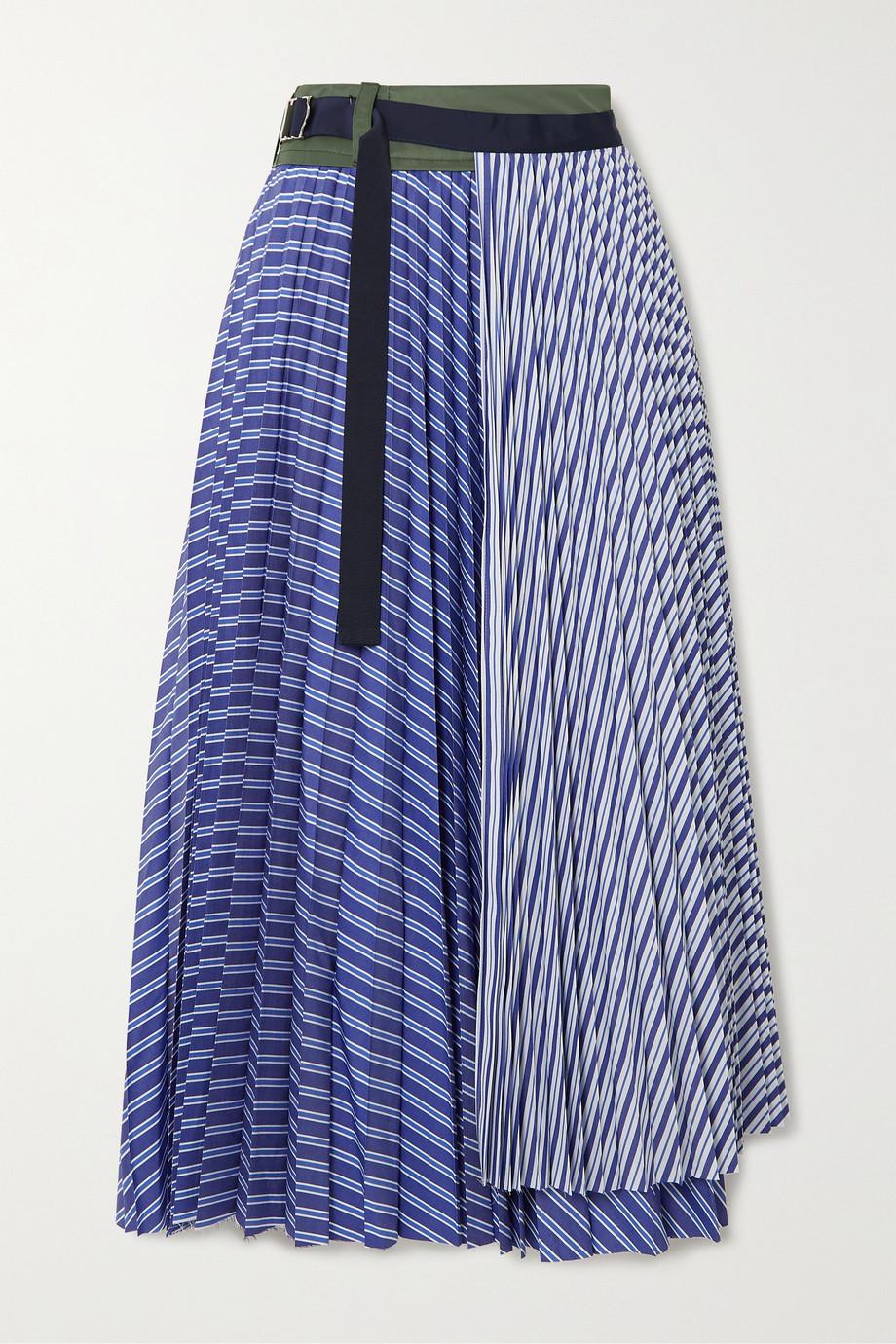 Sacai Pleated striped cotton-poplin wrap midi skirt